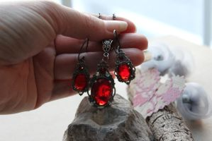 Ruby Earrings Swarovski Victorian Crafted by artistiquejewelry