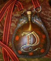 Leather drinking flask costrel D emblazoned by Eclectixx