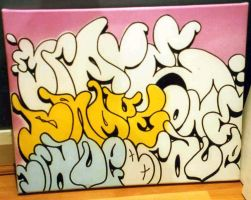 Totally broke graffiti artist paints canvas by Brave-one