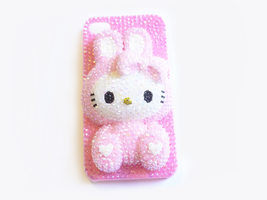 Pink Hello Kitty Bunny Costume iPhone 4 Case by Kuppiecake