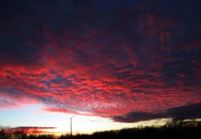 Blood red Sunset Clouds by emizael
