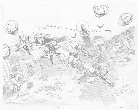 Showdown double page spread 3-4 pencils by ryanmcairns