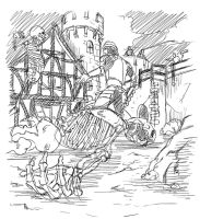 Medieval Fight sketch pencil 2 by JCLcomics