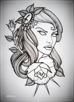 girl with rose tattoo flash OUTLINE by oldSkullLovebyMW