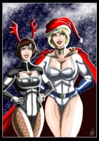Powergirl and Terra/Atlee - Christmas Belles by adamantis