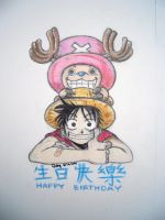 Luffy and Chopper by iliketodoodle