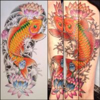 Japanese koi and water lilies by Drewgovan