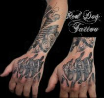 Chris sleeve hand session by Reddogtattoo
