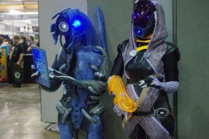Mass Effect cosplay: Legion + Tali by DashyProps
