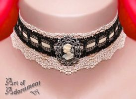 Champagne Cameo Lace Choker by Valerian