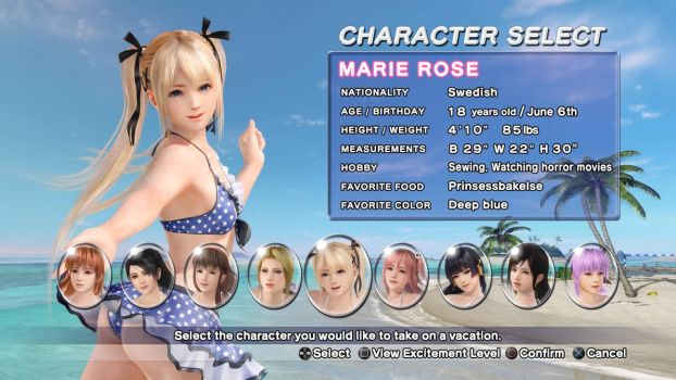 DEAD OR ALIVE Xtreme 3 Fortune Marie SplashScreen by HawkHQ