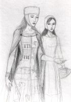 Medieval lady and maid by dashinvaine