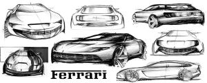 ferrari sketches by Chrupson