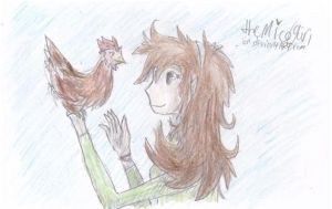 A girl and her chicken by MicoNutziri