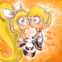The Albright twins as the Kagamine twins by SkyTye