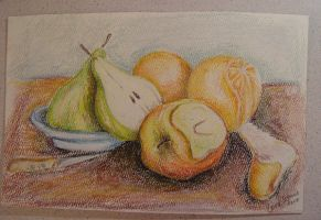 Peeling Fruit - Still Life by carriephlyons