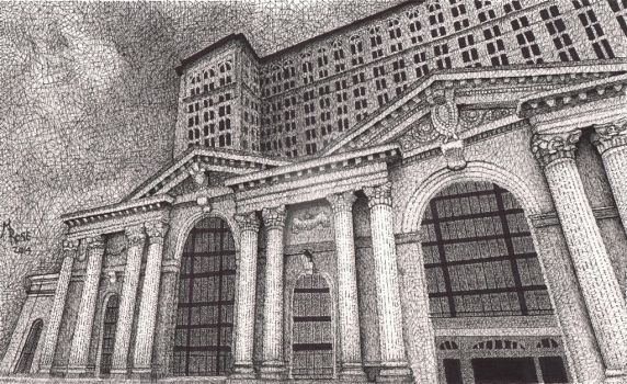 Michigan Central Station - Pen and Ink by Teatime-of-the-Dead