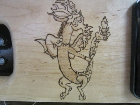 The Draconequus 2050 Discord Wood Burn by MongoTheManiac