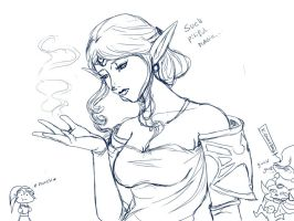 Zeldanime Pitiful magic sketch by crazyfreak