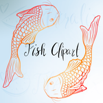 Clipart- Golden Outlined Fish by Floralix
