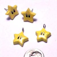 mario star earrings,charms by spaztazm