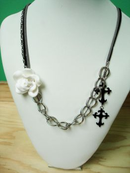 White rose, cross chains and suede necklace by Meeshah