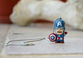 Captain America Necklace - Chibi by kittykat01