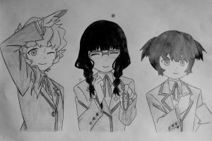 Mato Kuroi and her friends by Bloudy92