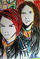 Fast sketch of Gerard and Ray by EvaFaithHorror