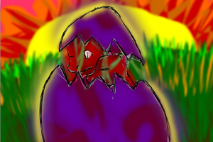Another egg hatching by catseathedevil