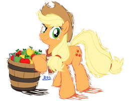 PonyKart - Applejack (flash drawn) by Blue-Paint-Sea