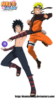 Naruto VS Menma Road to Ninja - Lineart colored by DennisStelly