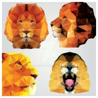 Collection of 4 geometric polygon lions, pattern by BlueLela
