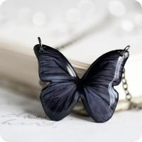 Black Butterfly necklace by BeautySpotCrafts
