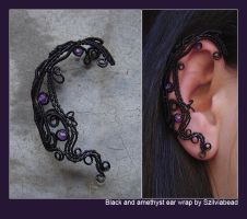 Black and amethyst ear wrap by bodaszilvia