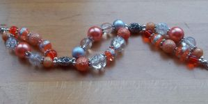 Orange and silver two strand bracelet by TerraNovaJewels