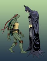 turtle meets bat by phil-cho