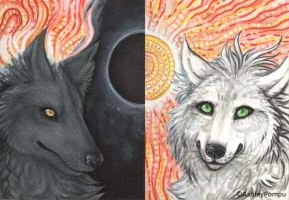 ACEO Dark and Light fire wolves by vashley