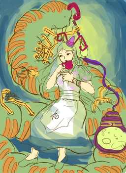 Work.inProgress - AliceMadness and the caterpillar by VanessaAtalanta