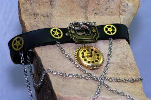 Steampunk collar, Slither in time, serpent watcher by MonstersInThewall