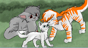 Dawnwing, Leapstar and Cloudpaw by CascadingSerenity