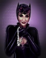 Catwoman and Pearls by VictraART