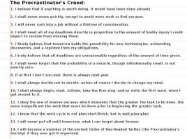 The Procrastinator's Creed by Shadow252525