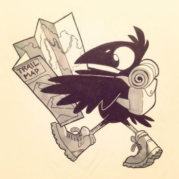 INKtober Day 6: Crow Hiker by moth-eatn