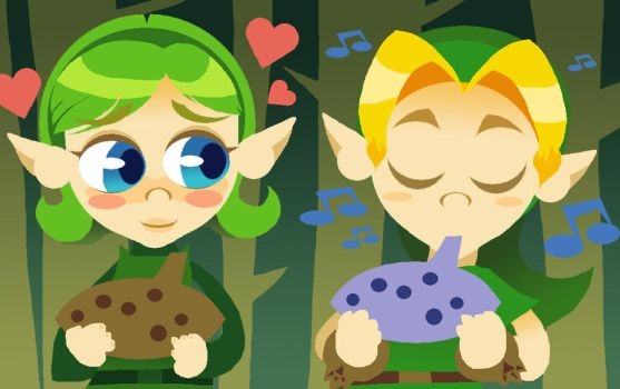 Link and Saria by HoppyBadBunny
