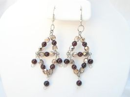 Crystals and Garnets Earrings by chainedoombaby