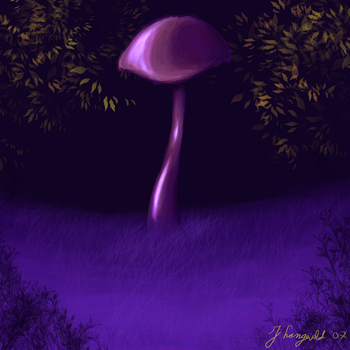 mushroom alone in the dark by C0mBineD