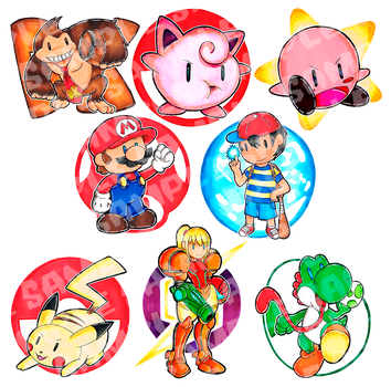 Sticker Pack: Super Smash Bros. Classic by peeweegraphix
