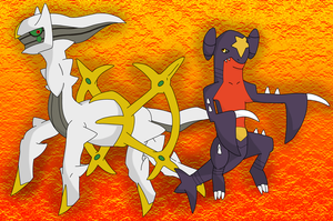 Garchomp and Arceus by BlueSmudge