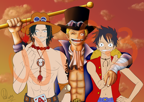 Ace - Sabo - Luffy / WiP by yousam